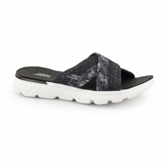 ON THE GO 400-TROPICAL Ladies Mule Flip Flop Black/White