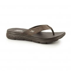 ON THE GO 400-VISTA Mens Toe Post Flip Flops Chocolate