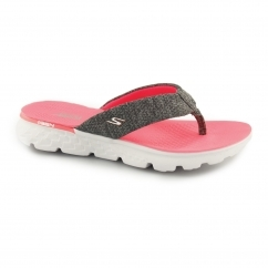 ON THE GO 400-VIVACITY Ladies Toe Post Flip Flops Charcoal/Pink