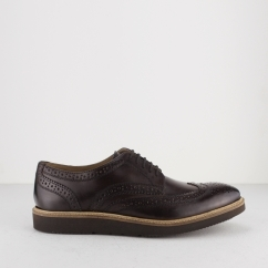 Base London ORION Mens Washed Leather Brogue Shoes Brown