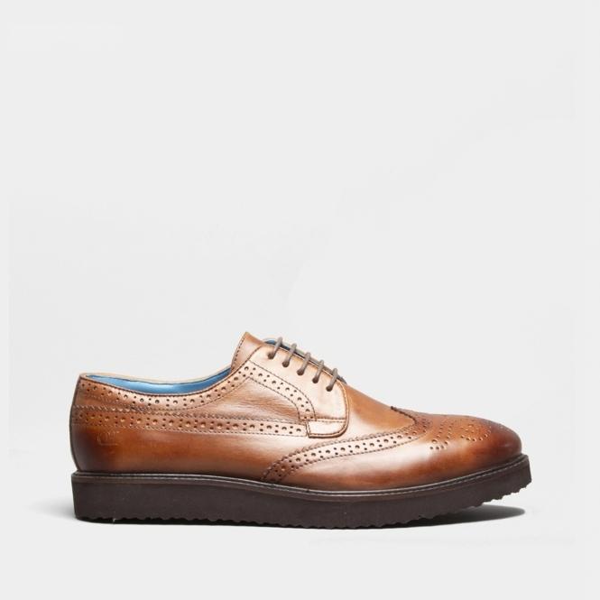 8160ad4f CALLUM Mens Leather Wingtip Shoes Cognac