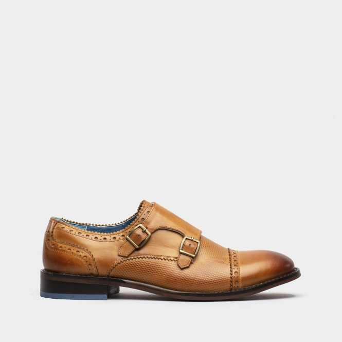 Oswin Hyde Duncan Mens Leather Monk Strap Shoes Tan Shuperb