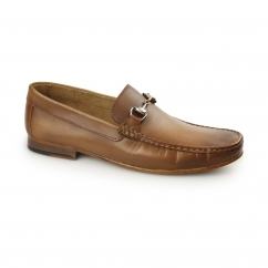 OTRANTO Mens Leather Penny Loafers Tan
