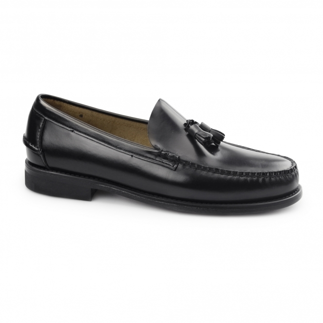 Carvelos PABLO Mens Leather Tassel Loafers Black