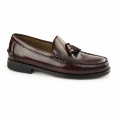 PABLO Mens Leather Tassel Loafers Bordo