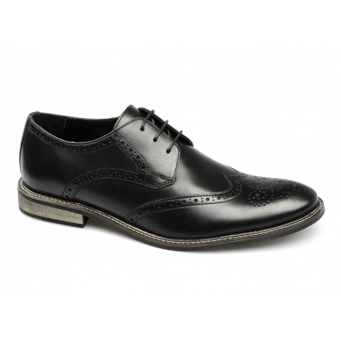 Ikon PACE Mens Florida Leather Lace-Up Brogue Shoes Black