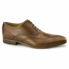ALEJANDRO Mens Leather Brogue Shoes Tan
