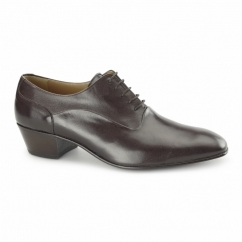 NEVADA Mens Leather Plain Cuban Heel Shoes Dark Brown
