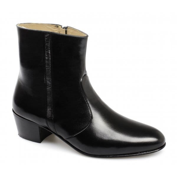 Paco Milan Mens Leather Croc Cuban Zip Boots Black Buy