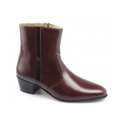 VALENTINO Mens Leather Reptile Cuban Heel Zip Boots Oxblood