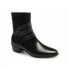 VASCO Mens Leather Croc Cuban Heel Zip Boots Black