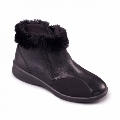 Padders ADELE Ladies Leather Extra Wide (3E/4E) Boots Black