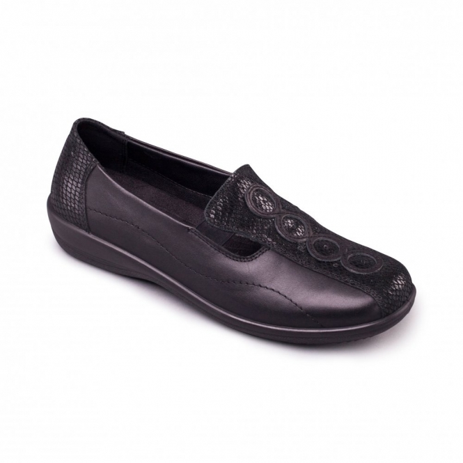Padders ADORA Ladies Leather Extra Wide (2E/3E) Loafers Black