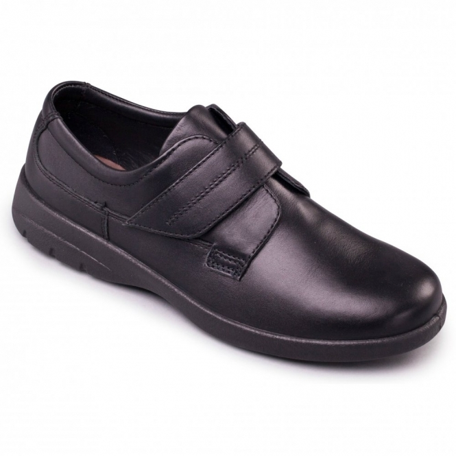 Padders AIR Mens Leather (F Fit) Comfort Shoes Black