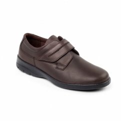 AIR Mens Leather Touch Fasten Comfort Shoes Brown