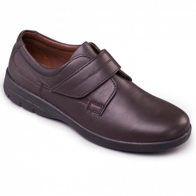 Padders AIR Mens Leather Velcro Comfort Shoes Brown