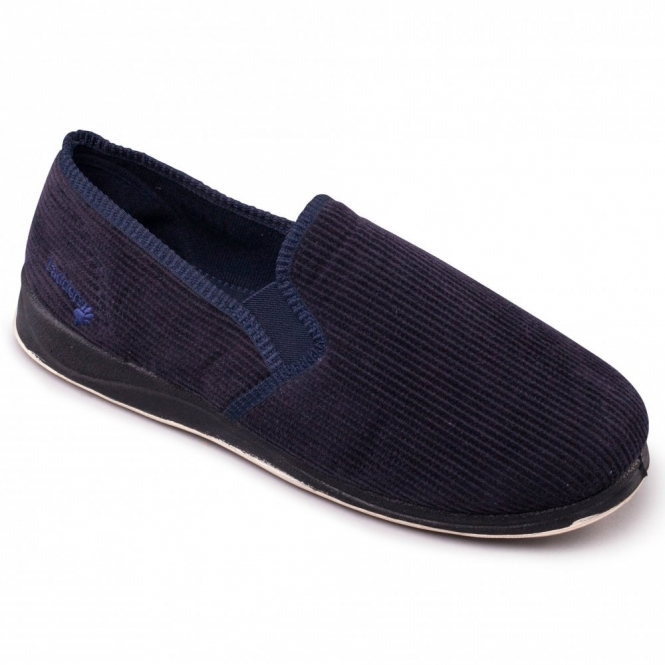 Padders ALBERT Mens Corduroy Wide G Fit Full Slippers Navy