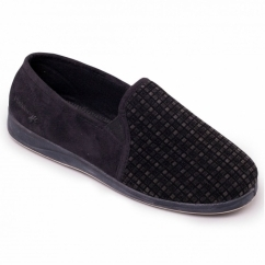 5fc617806c98a2 ALBERT Mens Textile Wide (G Fit) Full Slippers Black
