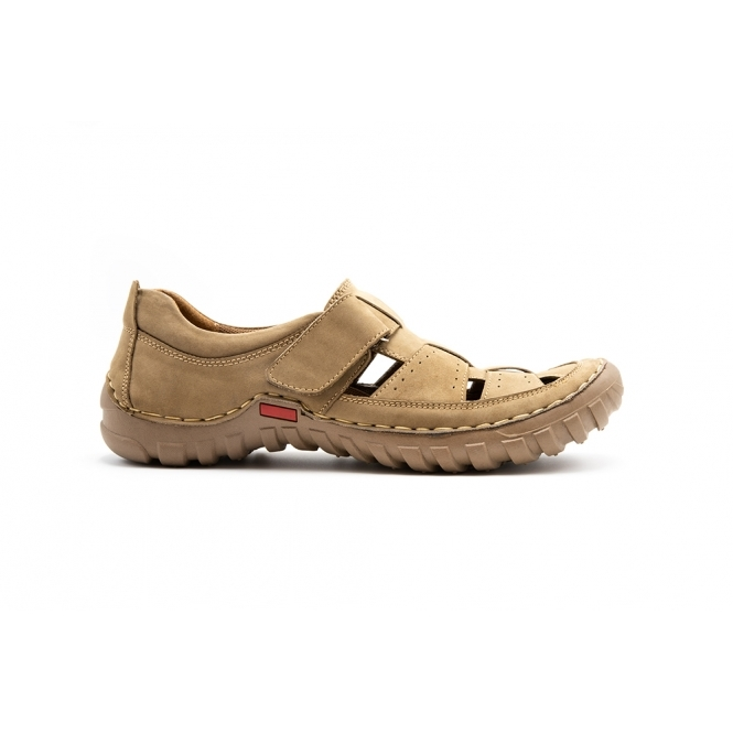 Leather Wide (G Fit) Sandals Beige|Shuperb
