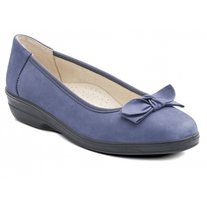Padders ANNABEL Ladies Nubuck Extra Wide Flat Bow Pumps Blue