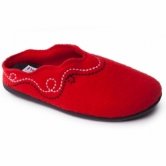 Padders ASPEN Ladies Felt Extra Wide (2E/3E) Mule Slippers Red