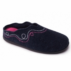 ASPEN Ladies Felt Wide Fit Mule Slippers Navy