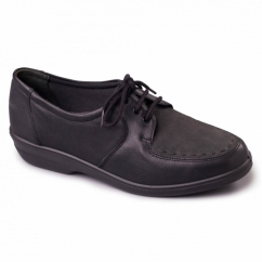 ASTER Ladies Leather Extra Wide (2E) Shoes Black