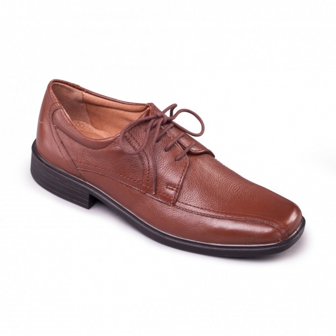 Padders ASTON Mens Leather Lace Wide Shoes Tan