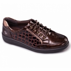 ATOM Ladies Patent Leather Lace Up Wide Fit Shoes Brown