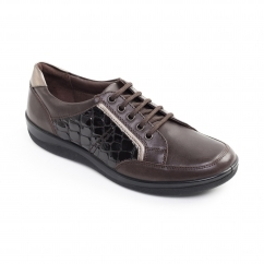 Padders ATOM Ladies Patent Leather Wide (E Fit) Shoes Brown