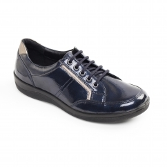 Padders ATOM Ladies Patent Leather Wide (E Fit) Shoes Navy