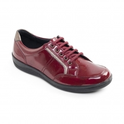 Padders ATOM Ladies Patent Leather Wide (E Fit) Shoes Red