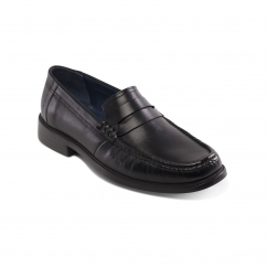 Padders BARON Mens Leather Wide (G Fit) Loafer Shoes Black