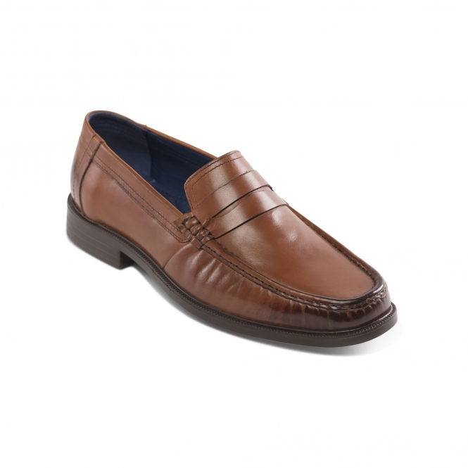 c5ca0cee6ff98 Padders BARON Mens Leather Wide (G Fit) Penny Loafer Shoes Tan | Shuperb