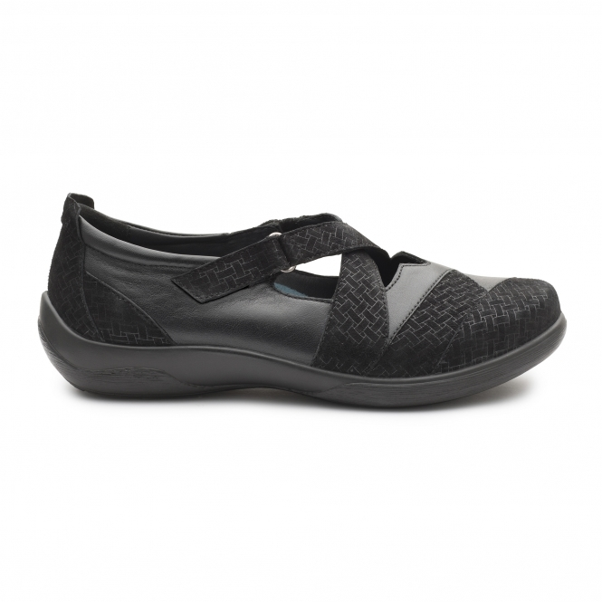 Padders PIANO Ladies Womens Leather Extra Wide Casual Comfy Shoes Black 2E//3E