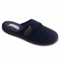 BAXTER Mens Felt Wide Fit Velcro Mule Slippers Navy