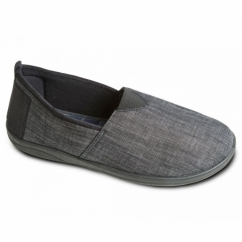 BLAKE Mens Canvas/Microsuede Wide Fitting Full Slippers Black