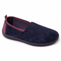 BLAKE Mens Microsuede Wide Fitting Full Slippers Navy