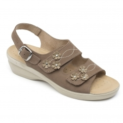 121efbc437b8 Padders BLUEBELL Ladies Leather Wide (E Fit) Sandals Taupe