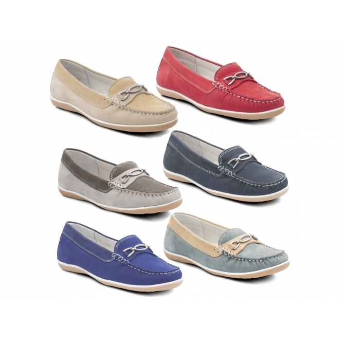 9be94e6c4d3 Padders BRIGHTON Ladies Nubuck Wide (E Fit) Loafers Honey Beige