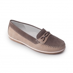 BRIGHTON Ladies Nubuck Wide Moccasin Loafers Grey