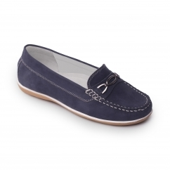 BRIGHTON Ladies Nubuck Wide Moccasin Loafers Navy