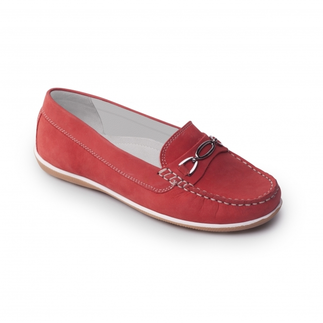 Padders BRIGHTON Ladies Nubuck Wide Moccasin Loafers Red