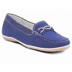 BRIGHTON Ladies Nubuck Wide Moccasin Loafers Royal Blue
