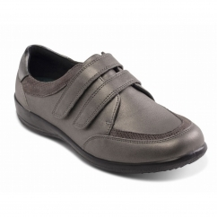 Padders CAITLIN Ladies Leather Extra Wide (2E/3E) Shoes Gun Metal