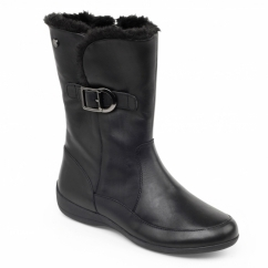 CAMDEN Ladies Leather Extra Wide Faux Fur Boots Black
