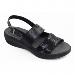 Padders CAMEO Ladies Leather Extra Wide (2E) Slingback Sandals Black/Combi
