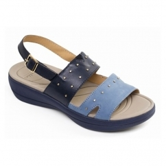 Padders CAMEO Ladies Leather Extra Wide (2E) Slingback Sandals Navy/Combi