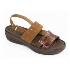 Padders CAMEO Ladies Leather Extra Wide (2E) Slingback Sandals Tan/Combi