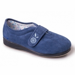 Padders CAMILLA Ladies Microsuede Extra Wide (2E) Full Slippers Denim Blue